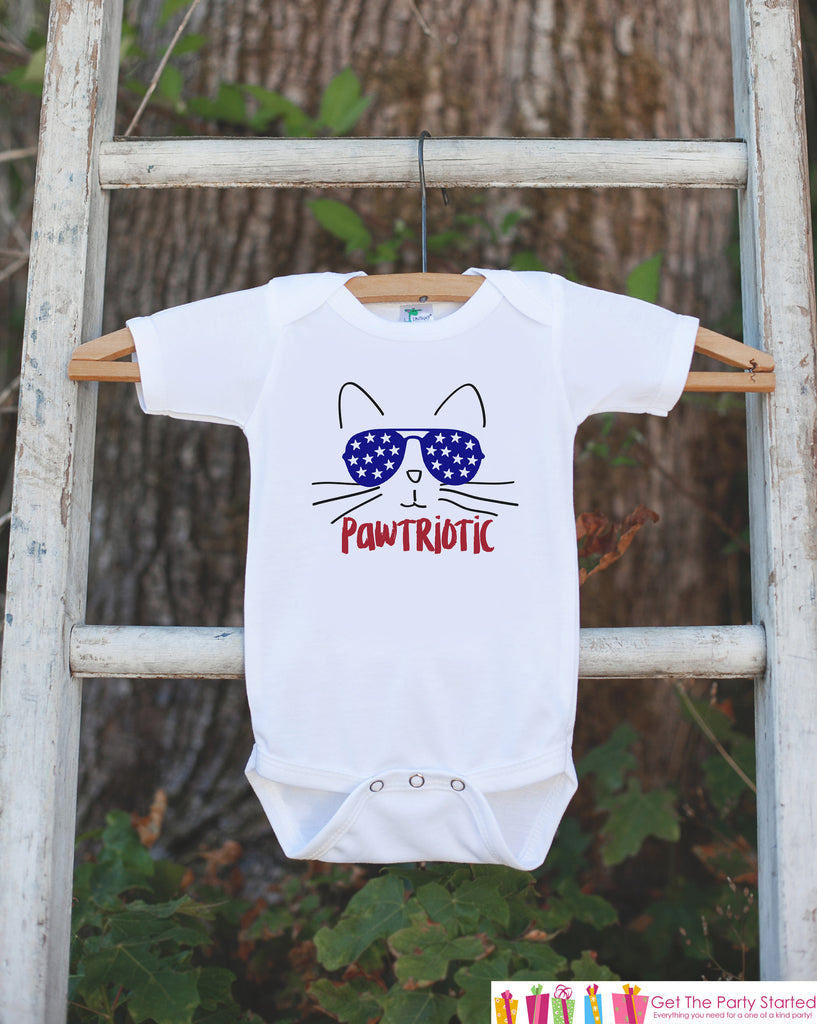 Kids 4th of July Shirt - Funny Pawtriotic Cat Onepiece or Tshirt - Patriotic 4th of July Baby Girl, Youth, Toddler - Independence Day
