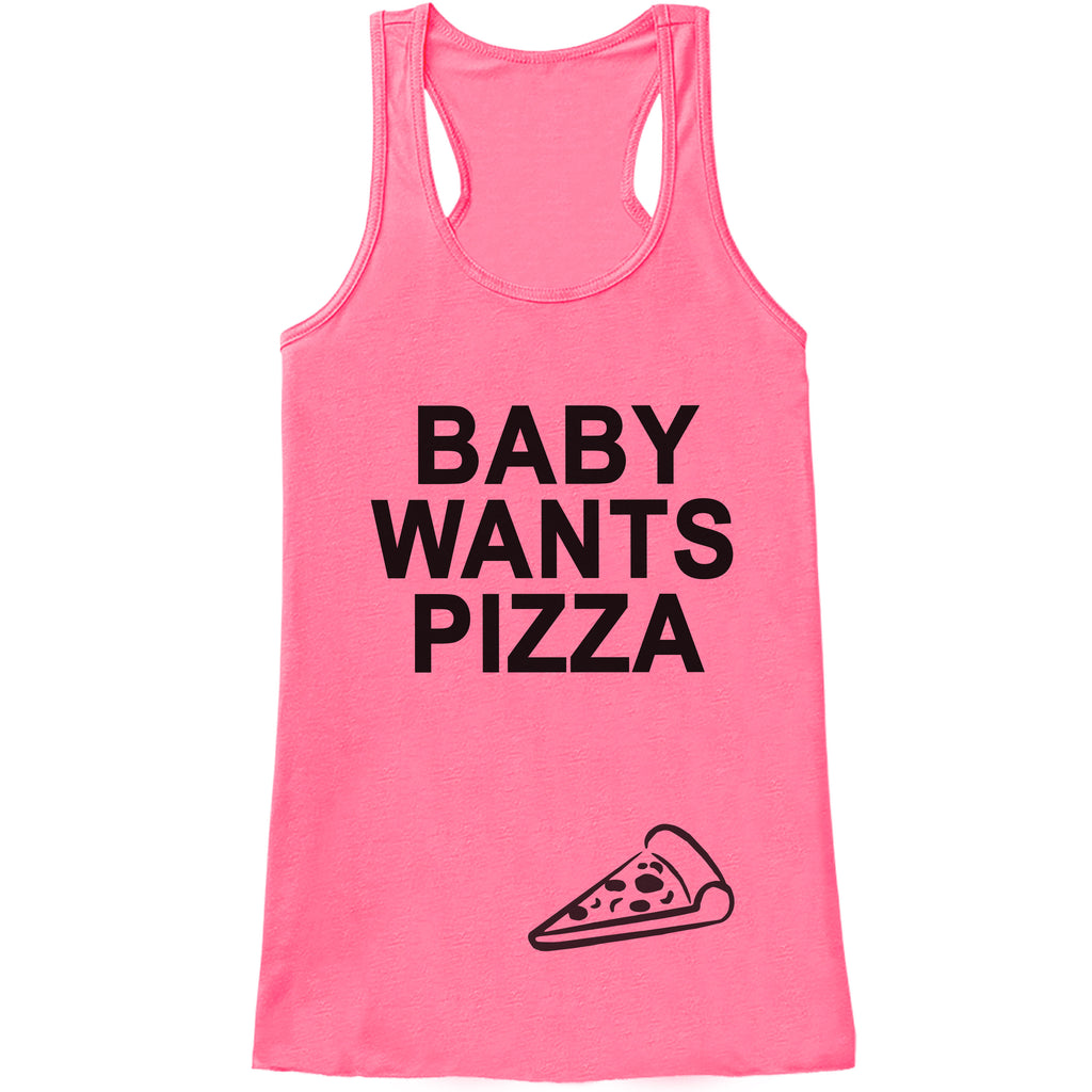 Pregnancy Announcement Tank - Baby Wants Pizza Pregnancy Shirt - Funny Pregnancy Reveal - Pink Tank Top - Pregnancy Announcement Shirt