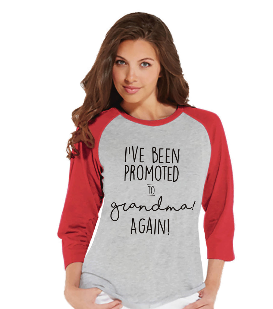 Grandparent Pregnancy Announcement Shirt - Promoted to Grandma Again Pregnancy Reveal Shirt - Pregnancy Reveal Shirt - Red Raglan Tee