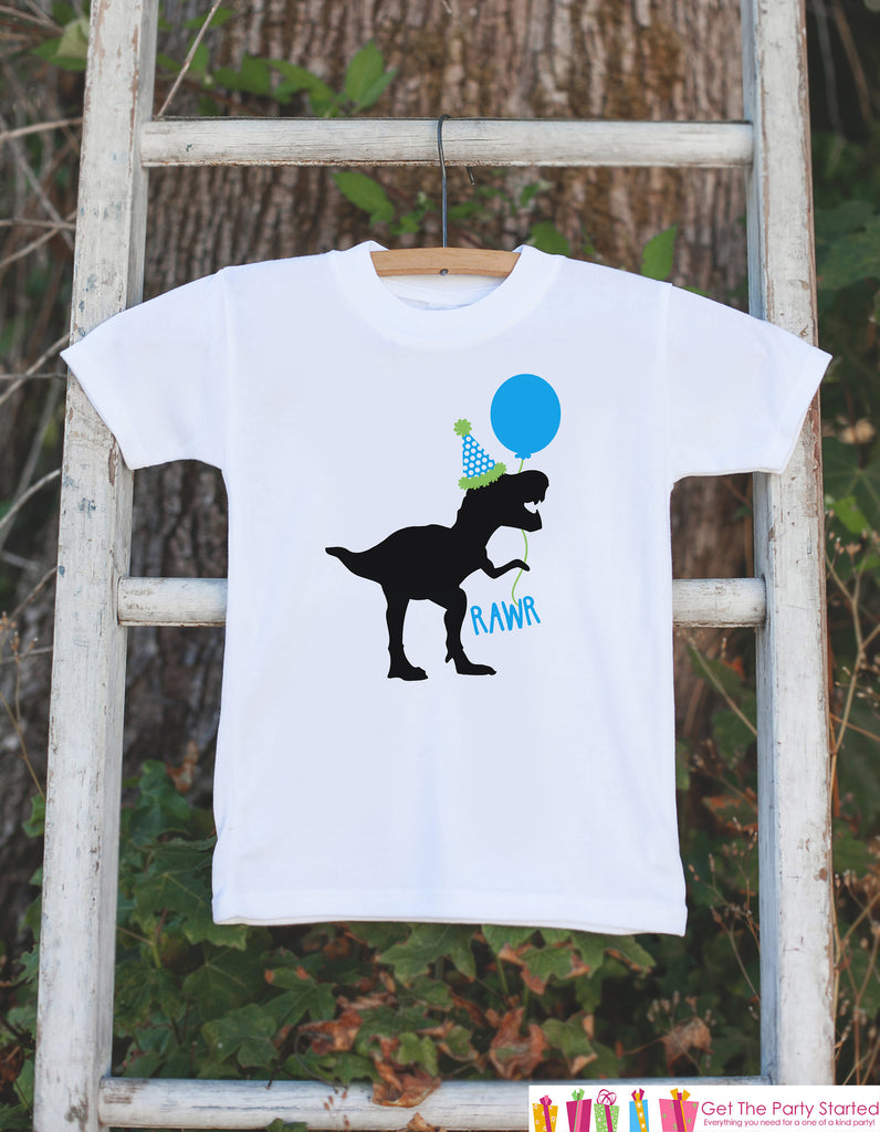 Dinosaur Birthday Shirt - Boys Blue Balloon Dino Bodysuit or T-shirt - Kids Dinosaur Birthday Party Shirt - Funny Dinosaur Birthday Shirt