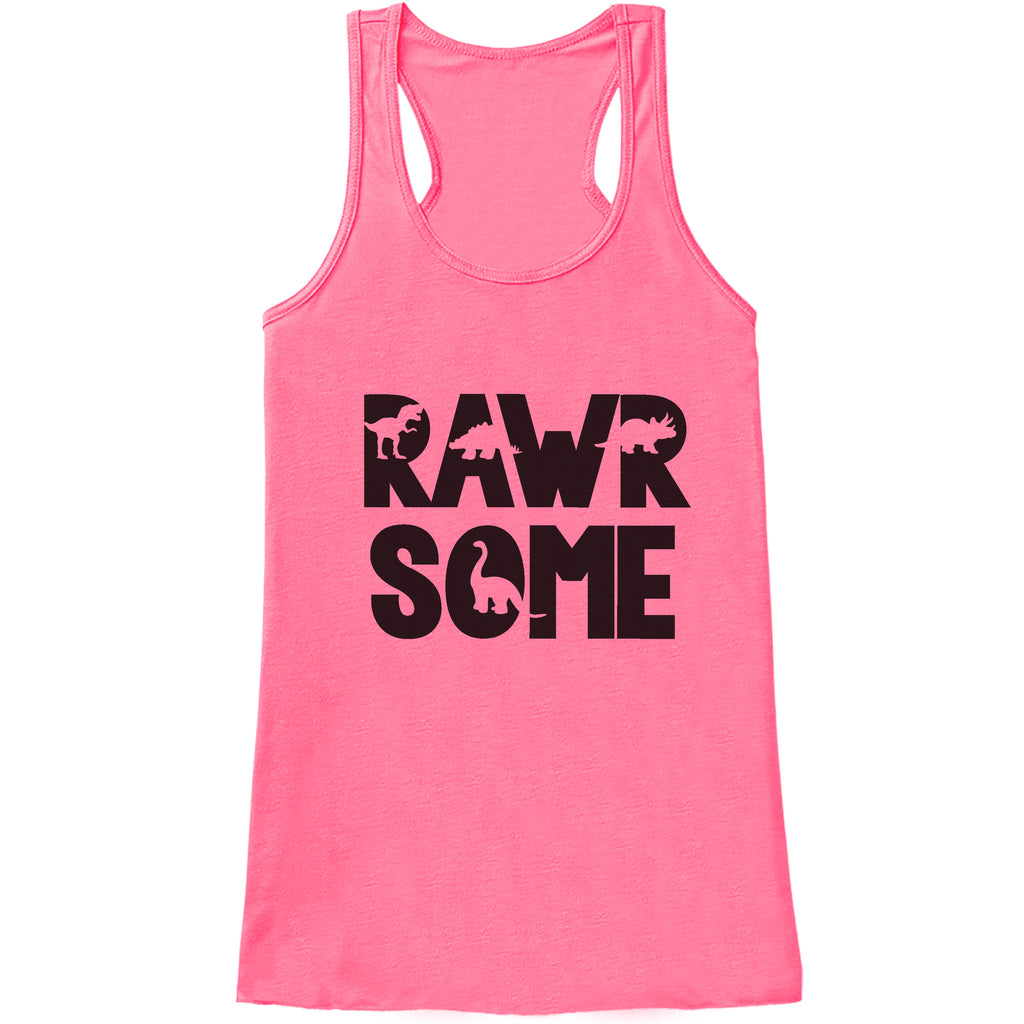 Women's Dinosaur Shirt - Rawrsome Dino Pink Tank Top - Ladies Dinosaur Shirt - Funny Dinosaur Shirt - Dinosaur Gift Idea for Her