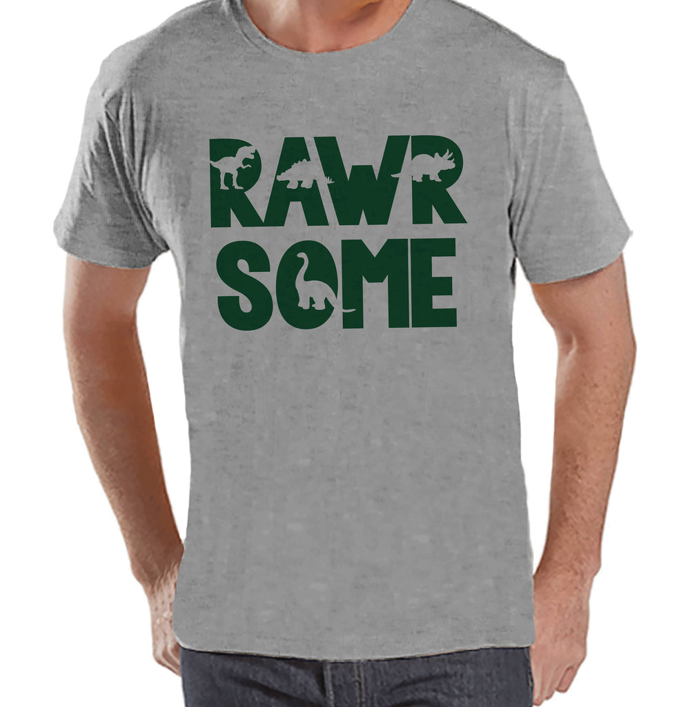 Men's Dinosaur Shirt - Rawrsome Dino Grey Tshirt - Funny Mens Shirts - Awesome Dinosaur Shirt - Dinosaur Gift Idea for Him - Dino Lover