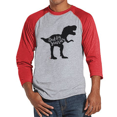Daddysaurus Shirt - Mens Red Raglan Shirt - Mens Baseball Tee - Mens Dinosaur Shirt - Gift For Dad - Fathers Day Gift - Gift Idea for Him