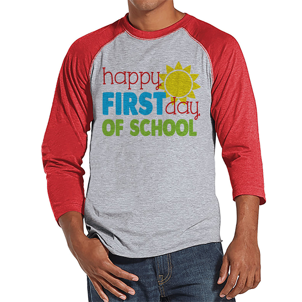 Back to School Teacher Shirts - Happy First Day of School Shirt - 1st Day Teacher Gift - Teacher Appreciation Gift - Men's Red Raglan Tee