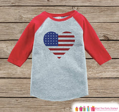 4th of July Shirt - Patriotic Flag Heart - Kids Flag 4th of July Onepiece or T-shirt - Girls Red Raglan - Patriotic 4th of July Shirt