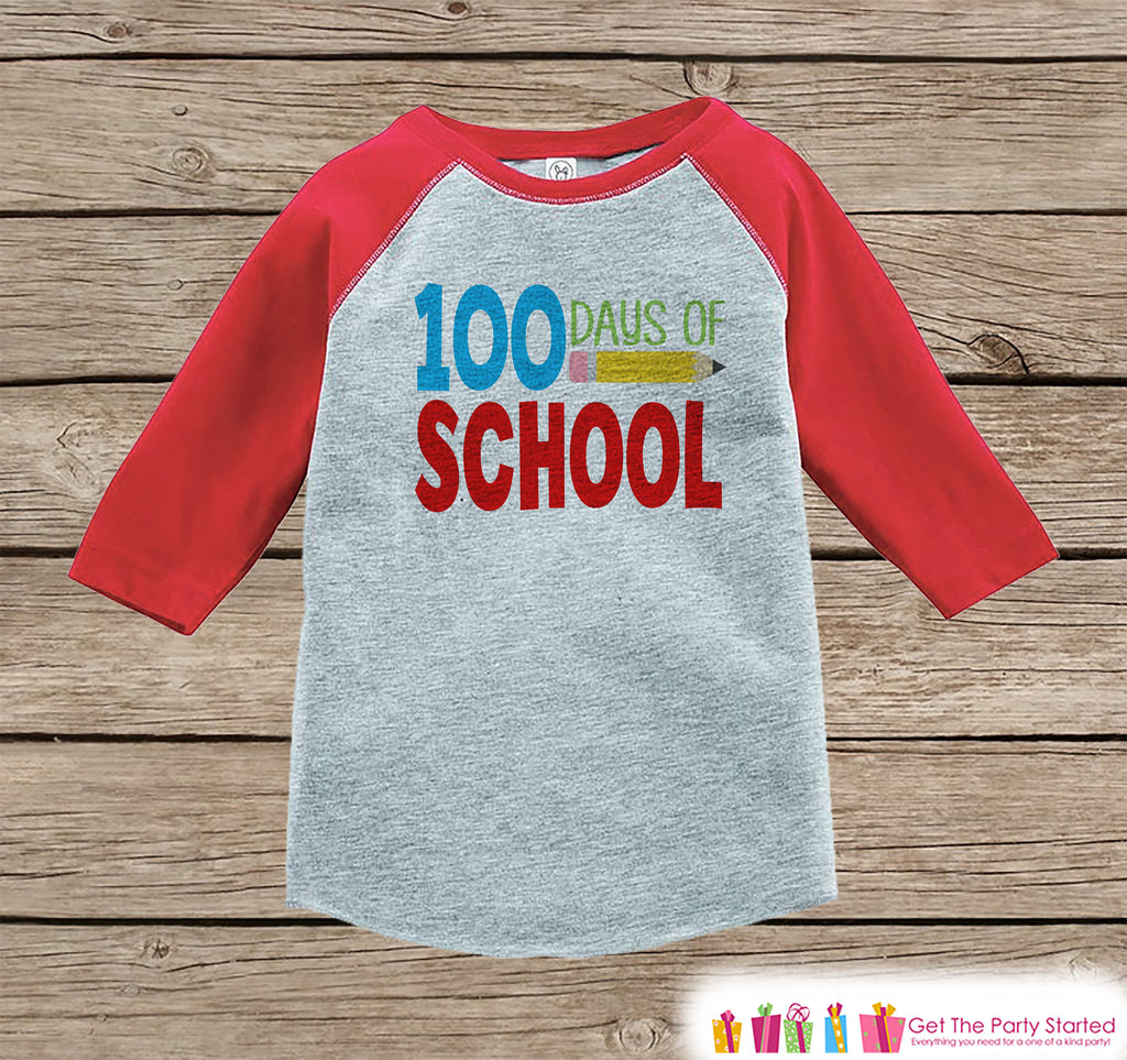 100 Days of School - Red Raglan Tshirt