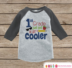Back to School Shirt - 1st Grade Shirt - Boys Back To School Outfit Grey Raglan Tee - First Day of School Tshirt - Back to School Shirt