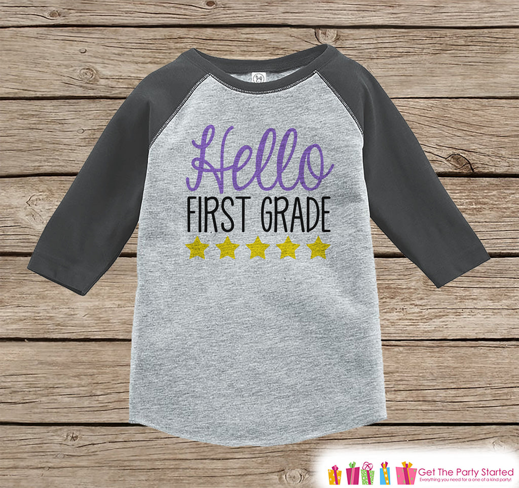 Back to School Shirt - Hello First Grade Shirt - Girl Back To School Outfit Grey Raglan Tee - First Day of 1st Grade Tshirt - Back to School