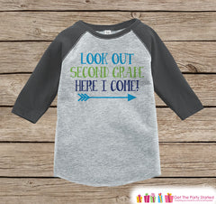 Back to School Shirt - Look Out Second Grade Shirt - Boys Back To School Outfit - Grey Raglan - Here I Come Tshirt - Back to School