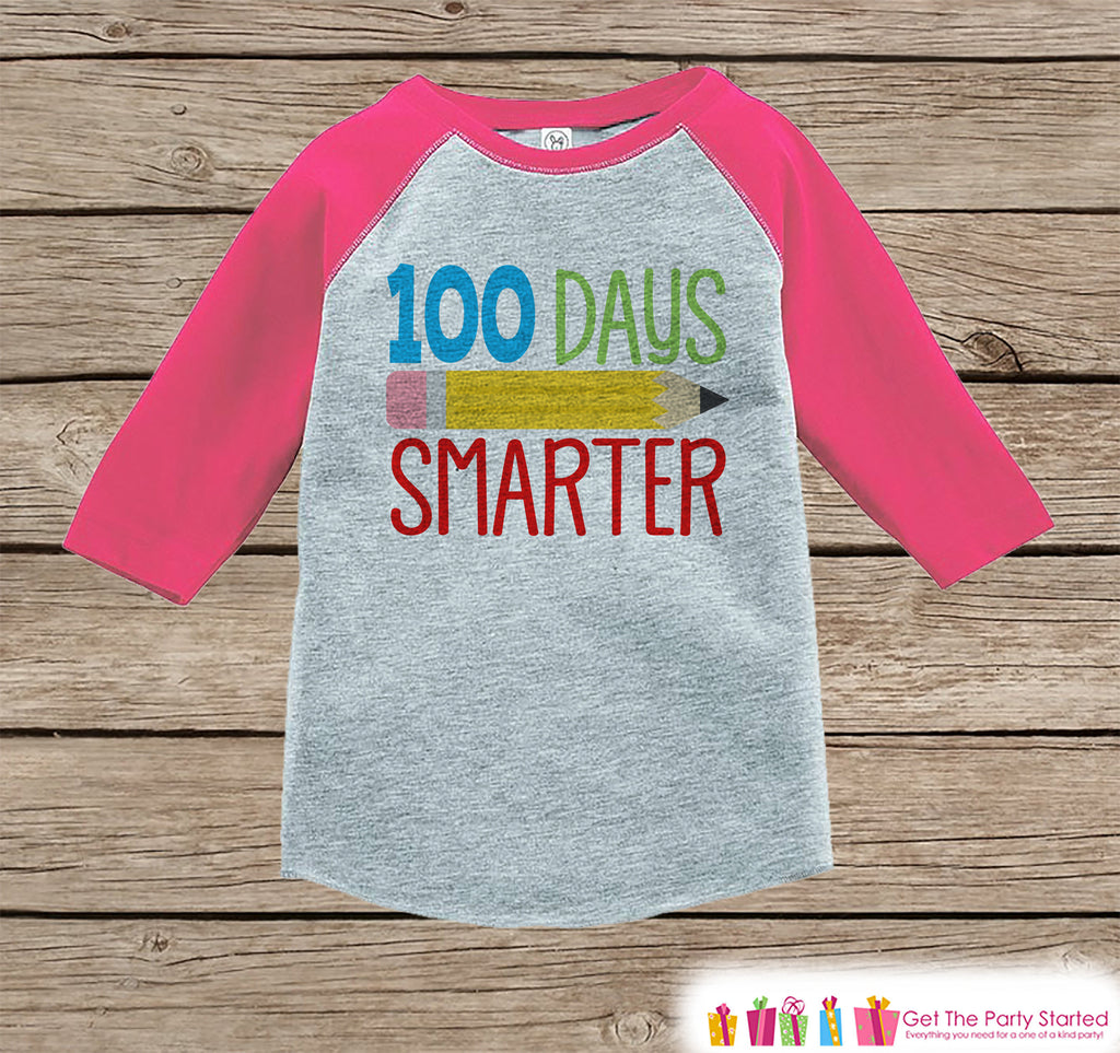 100 Days of School Shirt - Girls Pink Raglan Tee