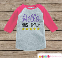 Back to School Shirt - Hello First Grade Shirt - Girl Back To School Outfit Pink Raglan Tee - First Day of 1st Grade Tshirt - Back to School