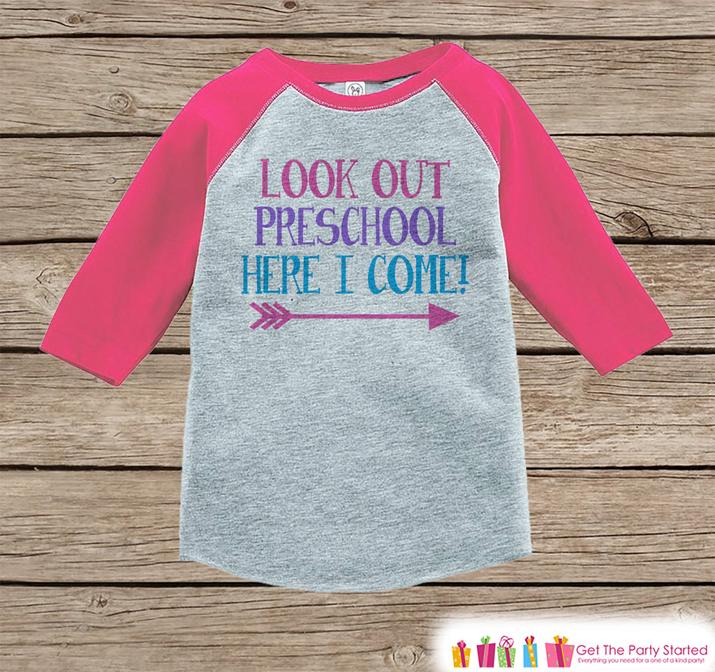Back to School Shirt - Look Out Preschool Shirt - Girls Back To School Outfit Pink Raglan - Preschool Here I Come Shirt - Back to School