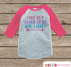 Back to School Shirt - Look Out Second Grade Shirt - Girls Back To School Outfit - Pink Raglan - Here I Come Tshirt - Back to School