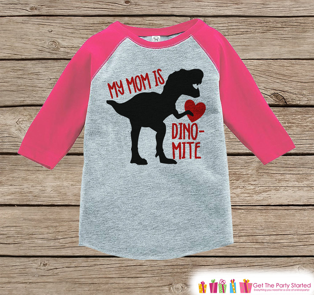 Kids Mother's Day Outfit - Red Heart Dinosaur Onepiece or Tshirt - Happy Mothers Day Kids Pink Raglan Tee - Girls Mothers Day Shirt - Dino