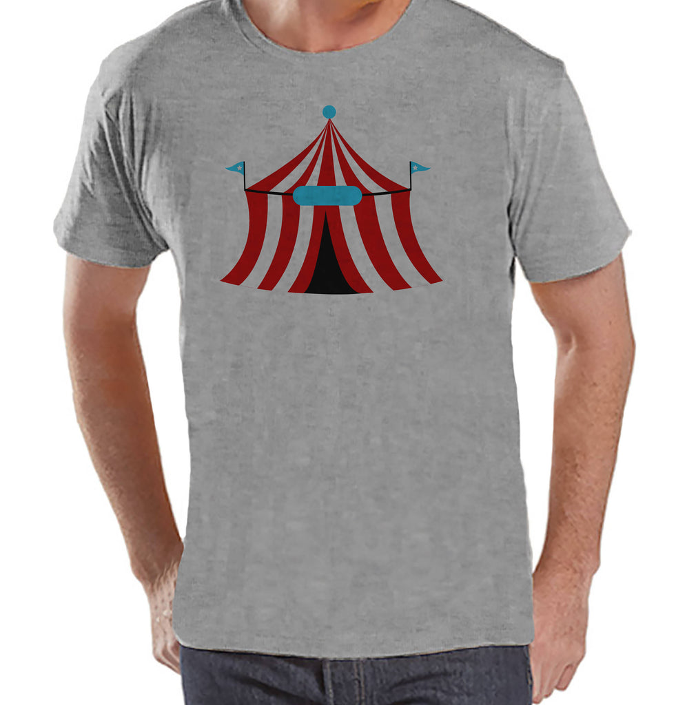 Circus Shirt - Mens Carnival Top - Circus Tent Shirt - Grey T-shirt - Men's Shirt - Carnival Birthday Party Outfit - Carnival Party Shirt