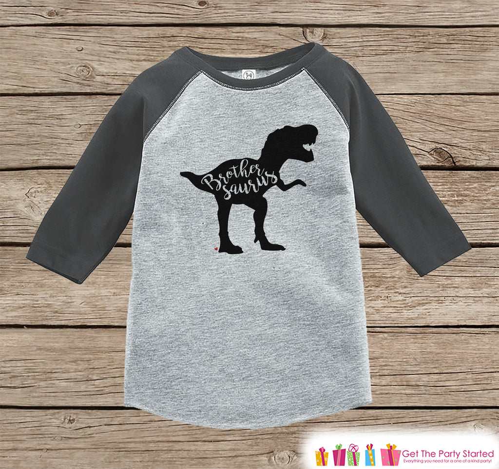 Boys Dinosaur Shirt - Brother Dino Shirt or Onepiece - Brothersaurus Shirt - Brother Saurus Sibling Shirts - Grey Raglan - Brother Dinosaur