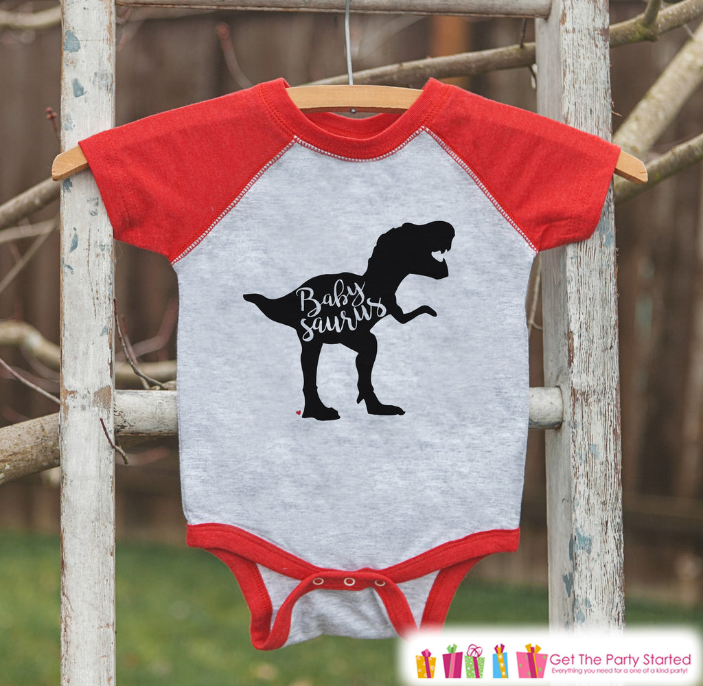 Baby Dinosaur Outfit - Babysaurus Red Raglan Onepiece - Baby Baseball Tee - Infant Dinosaur Outfit - Pregnancy Reveal Idea - Family Shirts