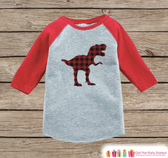 Boys Dinosaur Shirt - Plaid Dino Shirt or Onepiece - Plaid Dinosaur Shirt - Toddler Youth Kids Dino Shirt - Red Raglan - Dinosaur Outfit