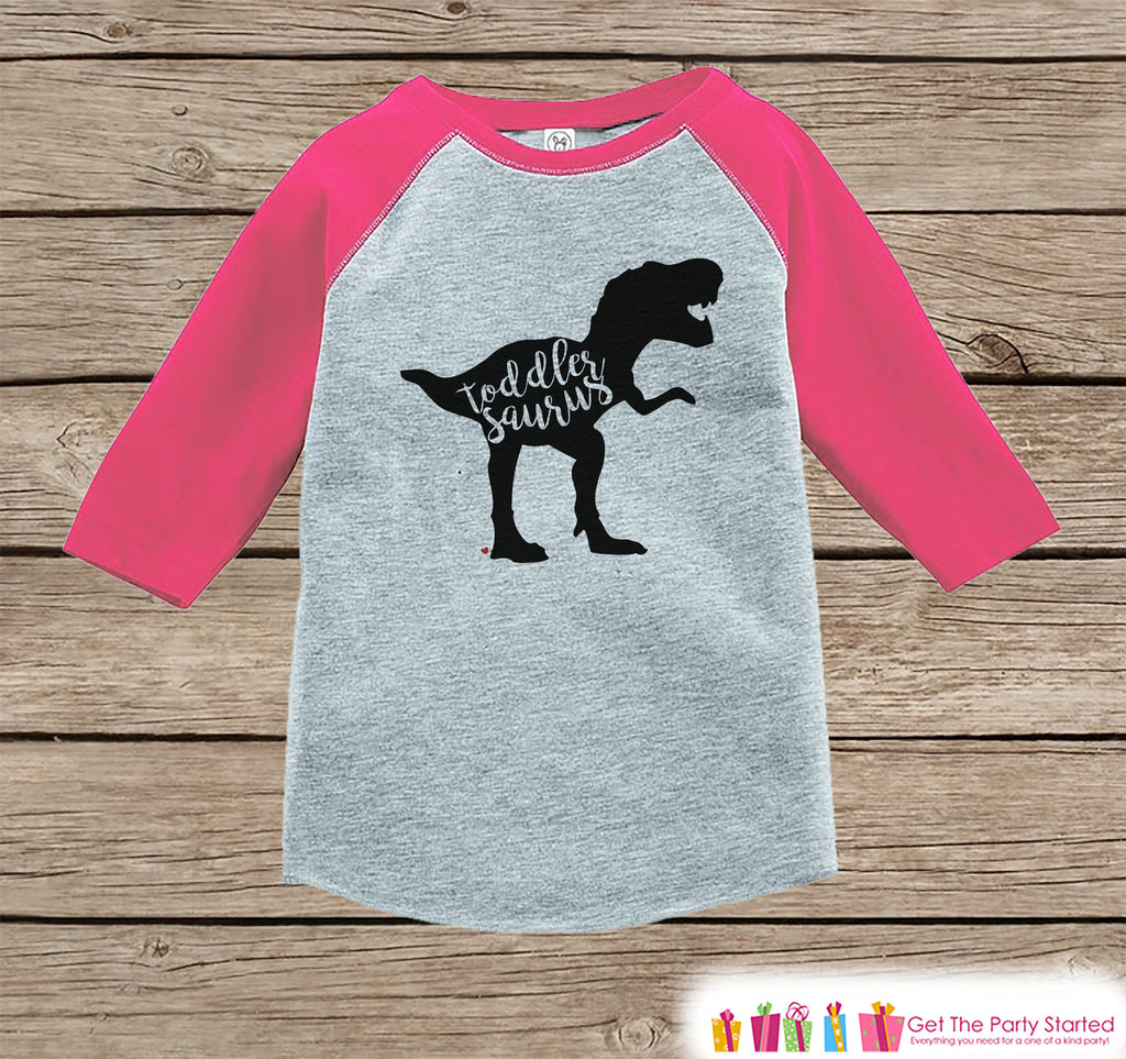 Girls Dinosaur Shirt - Toddler Dino Shirt or Onepiece - Toddlersaurus Shirt - Dino Family Shirts - Sibling Shirts - Pink Raglan - Dinosaur