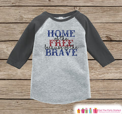 4th of July Shirt - Home of the Free Because of the Brave - Kids 4th of July Onepiece or T-shirt - Boys Girls Grey Raglan - Patriotic Shirt