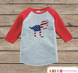 Boys 4th of July Shirt - Patriotic American Flag Dinosaur 4th of July Onepiece or T-shirt - Boys or Girls Red Raglan - Funny Military Shirt