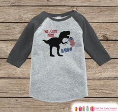 Boys Military Homecoming Shirt - Welcome Home Daddy - Funny Kids Patriotic Dinosaur Onepiece or T-shirt - Military Welcome Home Shirt