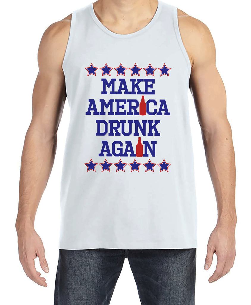 Men's 4th of July Tank Top - Make America Drunk Again - White Tank - Funny Political 4th of July Party Shirt - Patriotic Drinking Shirt