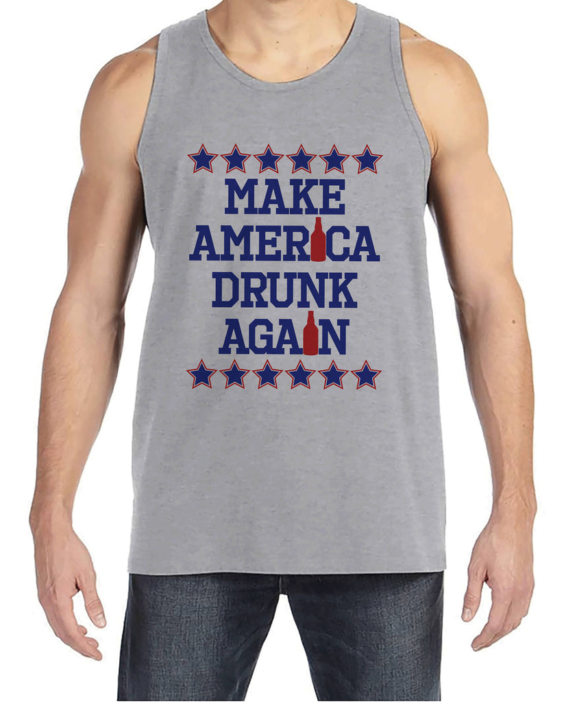 Men's 4th of July Tank Top - Make America Drunk Again - Grey Tank - Funny Political 4th of July Party Shirt - Patriotic Drinking Shirt