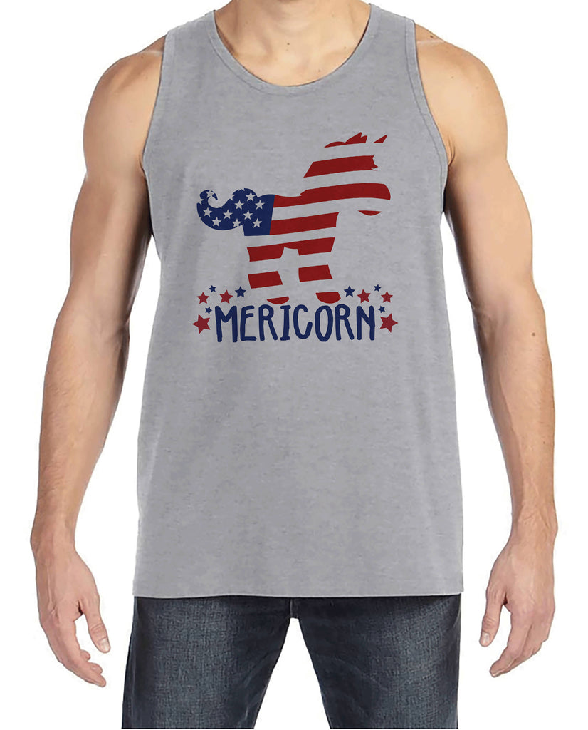 Men's 4th of July Tank Top - Funny Mericorn Grey Tank - American Flag Unicorn 4th of July Party Shirt - Funny Patriotic Independence Day