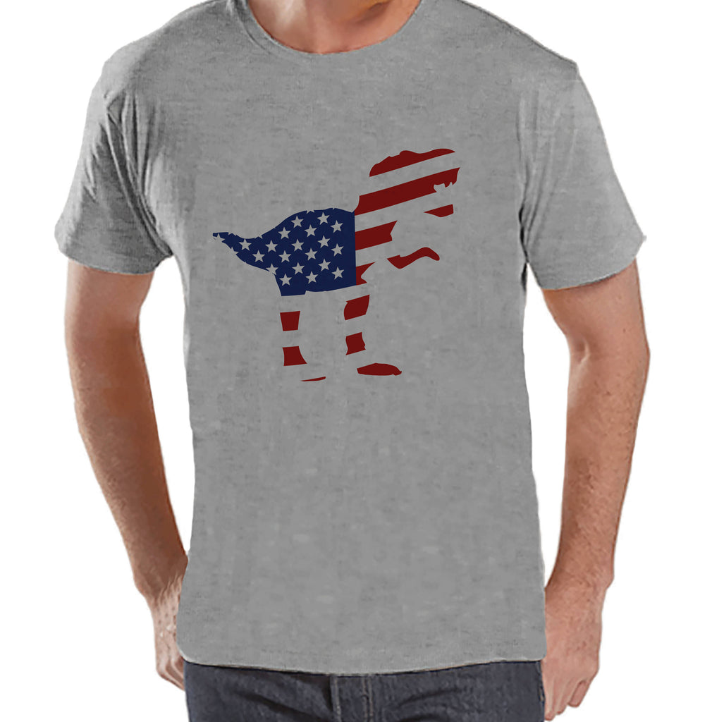 Men's 4th of July Shirt - American Flag Dinosaur - Grey T-shirt - Patriotic Dino 4th of July Party Shirt - Men's Funny Patriotic Shirt