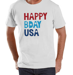 Men's 4th of July Shirt - Happy Bday USA - White T-shirt- Independence Day Shirt - 4th of July Party Shirt - Mens Patriotic Shirt