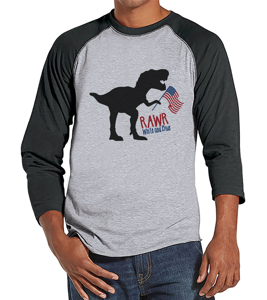 Men's 4th of July Shirt - Patriotic Dinosaur Grey Raglan - Funny Dino 4th of July Party Shirt - Patriotic Independence Day Men's Shirt