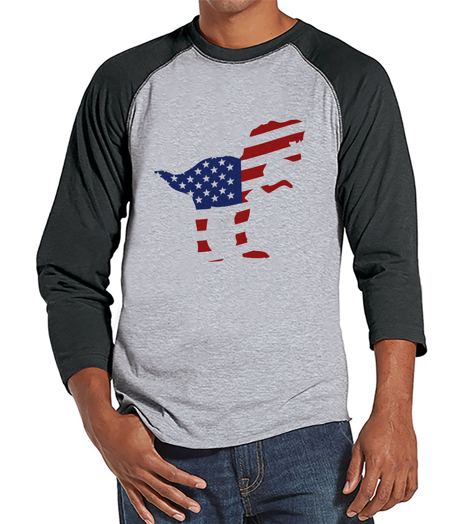 Men's 4th of July Shirt - American Flag Dinosaur - Grey Raglan - Patriotic Dino 4th of July Party Shirt - Men's Funny Patriotic Shirt