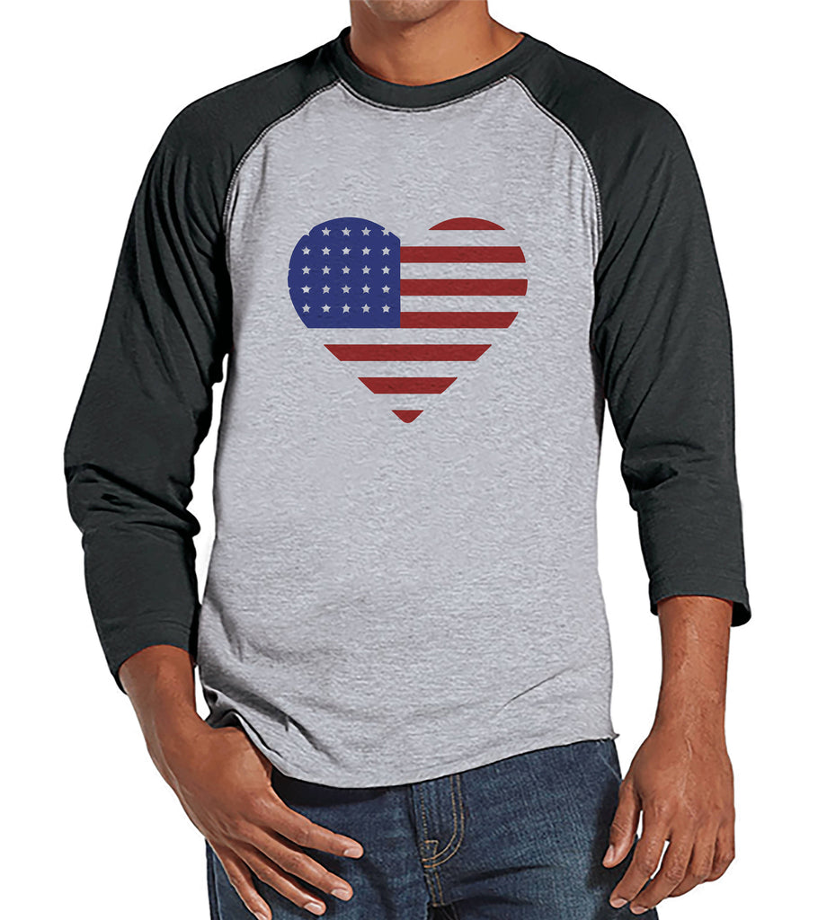 Men's 4th of July Shirt - Heart American Flag - Grey Raglan Baseball Tee - American Flag 4th of July Shirt - Patriotic USA Flag Tank Top