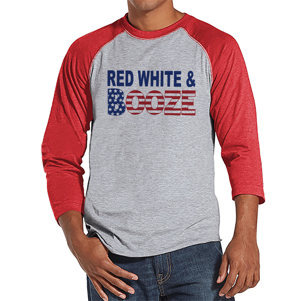 Red, White & Booze Shirt - Funny Men's 4th of July Shirt - Red Raglan - American Flag 4th of July Party Shirt - Patriotic Drinking Shirt