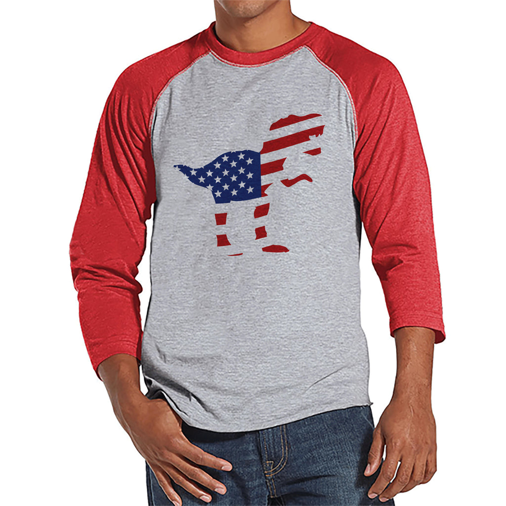 Men's 4th of July Shirt - American Flag Dinosaur - Red Raglan - Patriotic Dino 4th of July Party Shirt - Men's Funny Patriotic Shirt