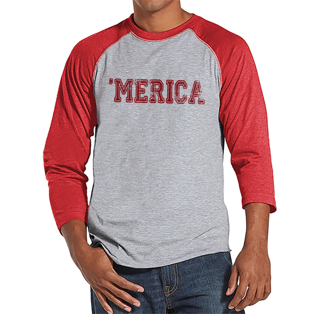 Men's 4th of July Shirt - Red 'Merica Shirt - Red Raglan Shirt - Men's Patriotic Tee - Funny Fourth of July Shirt - American Pride Shirt