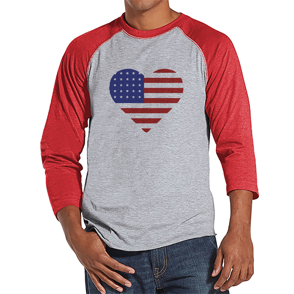 Men's 4th of July Shirt - Heart American Flag - Red Raglan Baseball Tee - American Flag 4th of July Shirt - Patriotic USA Flag Tank Top