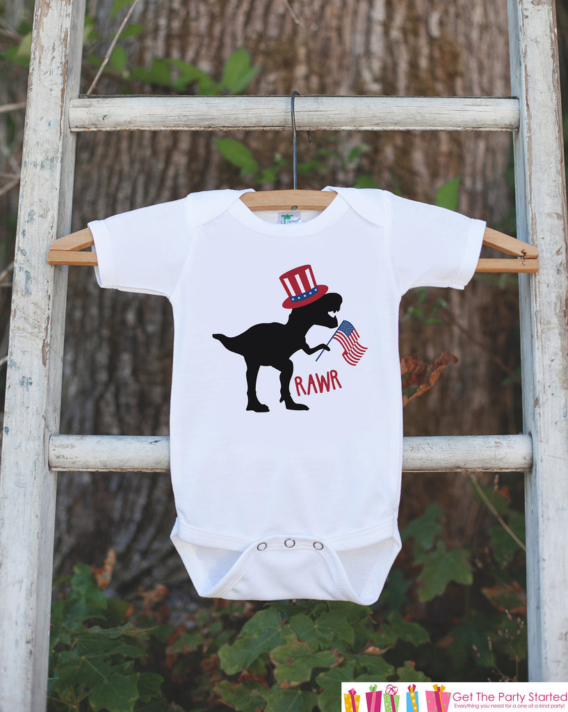 Kids 4th of July Shirt - Uncle Sam Dinosaur Onepiece or Tshirt - Dino 4th of July Shirt Baby Girl or Boy, Youth, Toddler - Independence