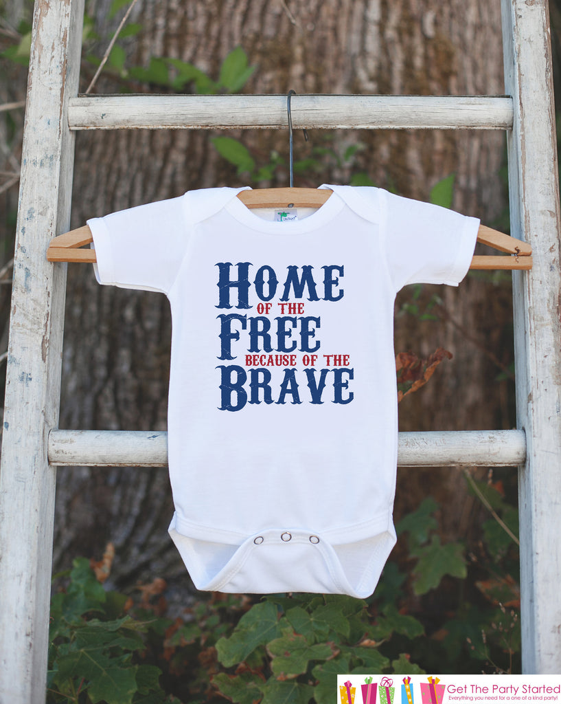 Kids 4th of July Shirt - Home of the Free Onepiece or Tshirt - 4th of July Shirt Baby Girl or Boy, Youth, Toddler - Military Kids Shirt
