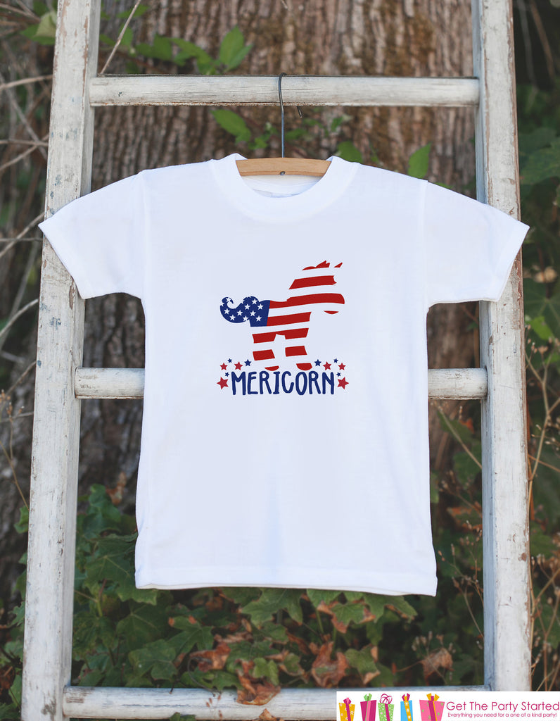 Kids 4th of July Shirt - Funny Patriotic Mericorn Unicorn Onepiece or Tshirt - 4th of July Baby Girl, Youth, Toddler - Independence Day