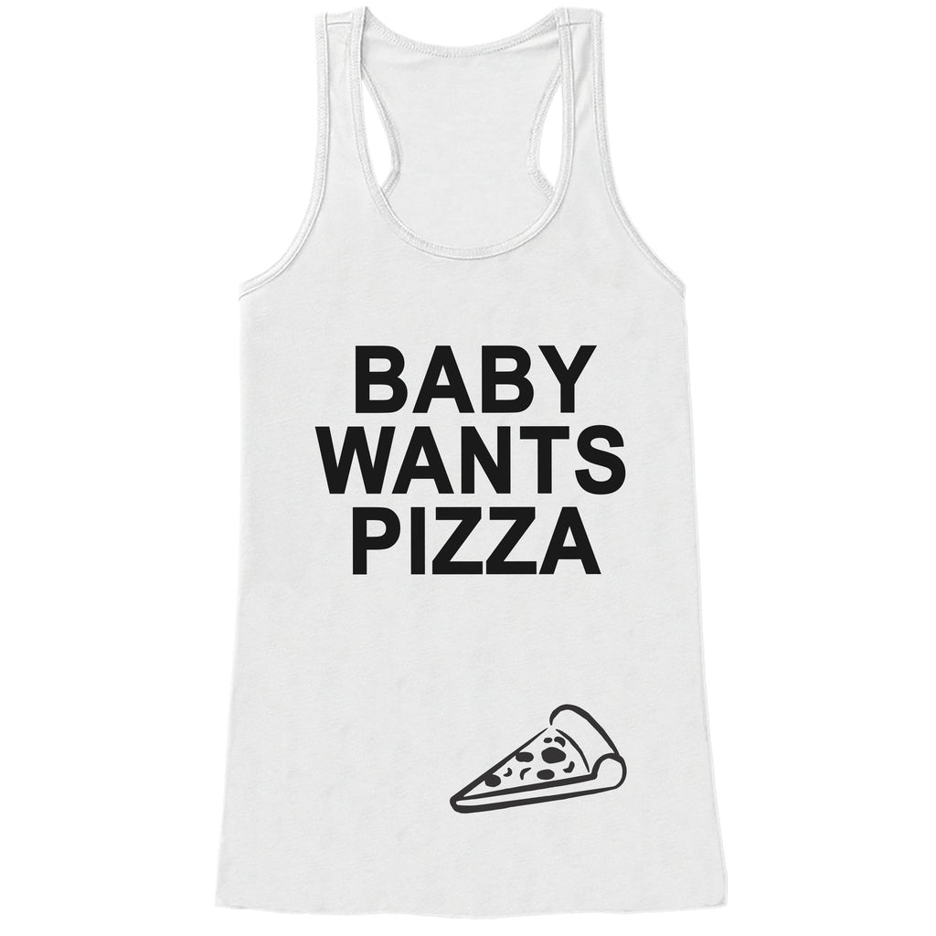 Pregnancy Announcement Tank - Baby Wants Pizza Pregnancy Shirt - Funny Pregnancy Reveal - White Tank Top - Pregnancy Announcement Shirt