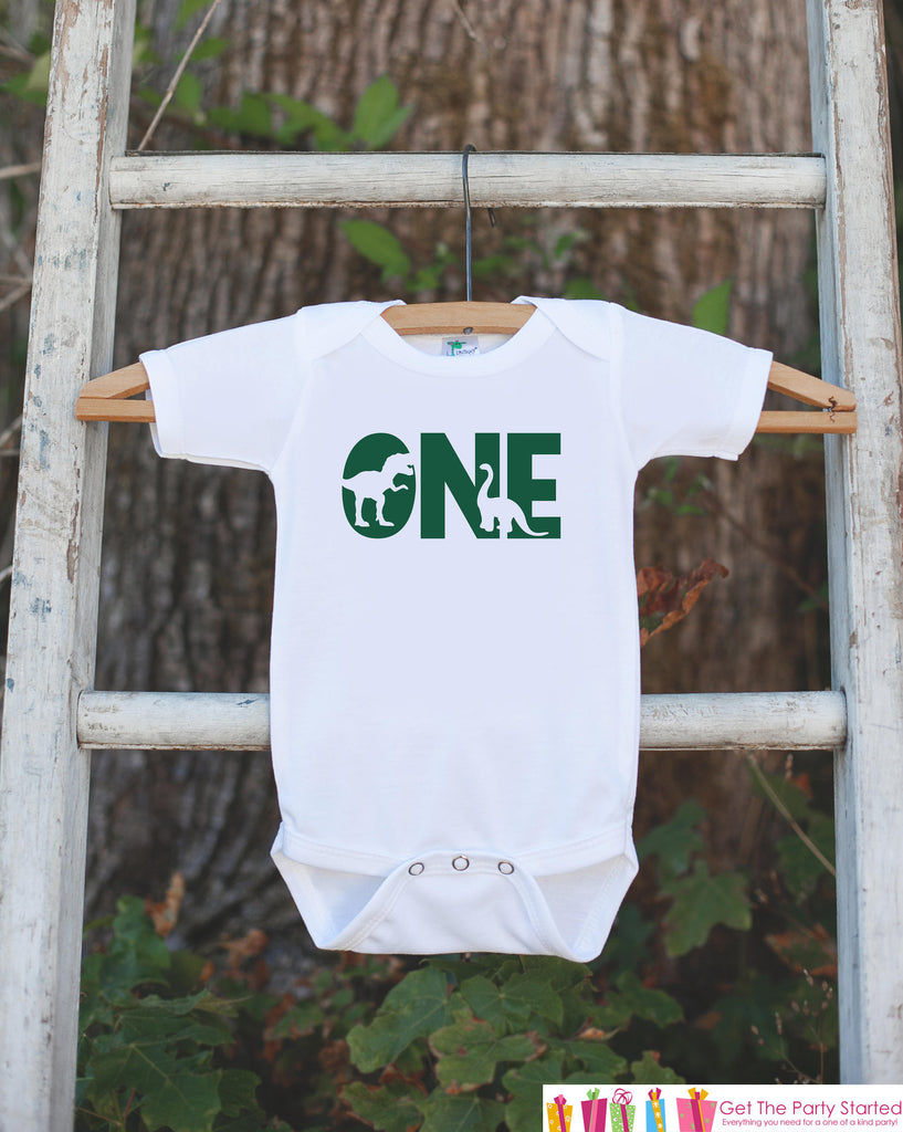 Dinosaur Birthday Shirt - One Shirt - Boys 1st Birthday Dino Bodysuit or Tshirt - Dinosaur Birthday Party Outfit - Green Dino Birthday Shirt