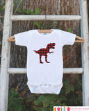 Boys Dinosaur Shirt - Buffalo Plaid Dino Shirt or Onepiece - Red Black Dinosaur Shirt - Boys Dino Shirts - Plaid Dinosaur Hunter T-shirt