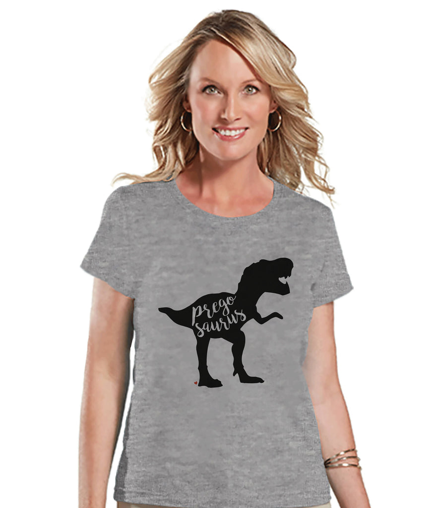 Women's Dinosaur Shirt - Pregosaurus Dino Grey T-shirt - Pregnancy Announcement Dinosaur Shirt - Pregnancy Reveal Dinosaur Shirt