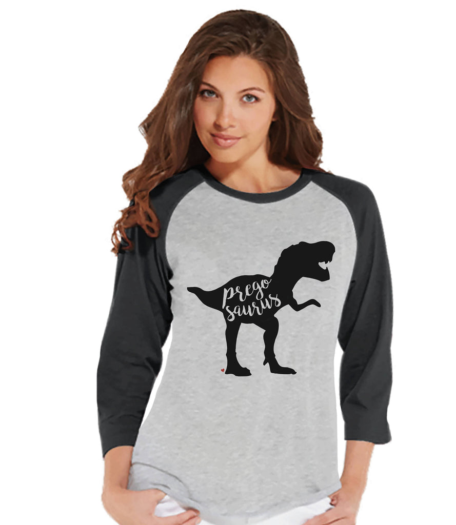 Women's Dinosaur Shirt - Pregosaurus Dino Grey Raglan - Pregnancy Announcement Dinosaur Shirt - Pregnancy Reveal Dinosaur Shirt