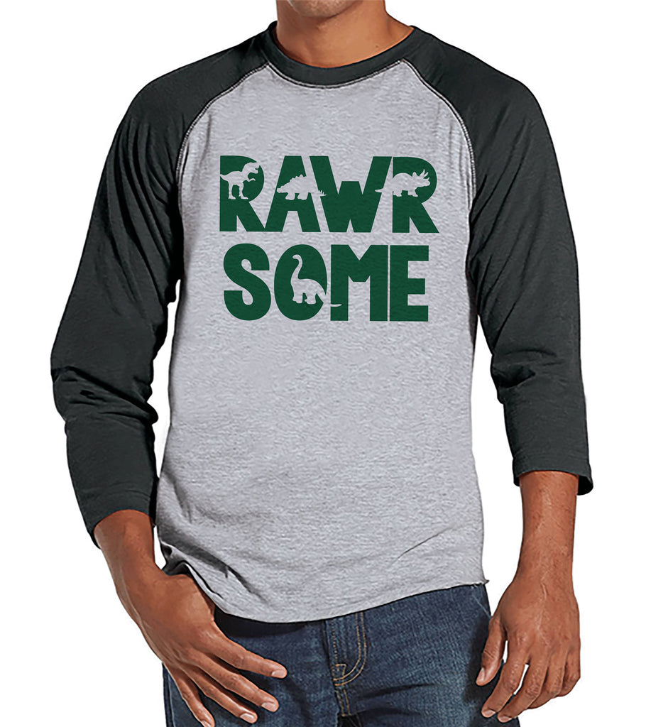 Men's Dinosaur Shirt - Rawrsome Dino Grey Raglan - Funny Mens Shirts - Awesome Dinosaur Shirt - Dinosaur Gift Idea for Him - Dino Lover