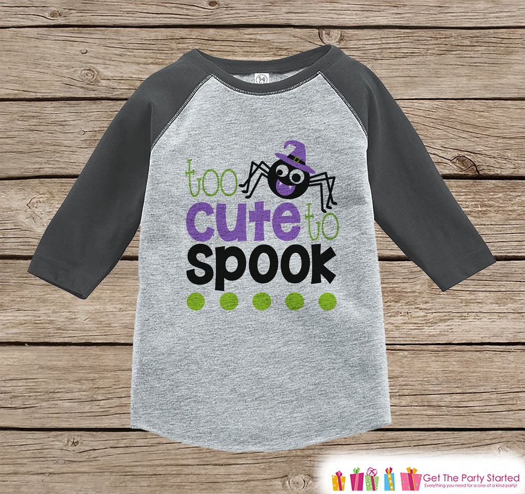 Girls Halloween Outfit - Kids Funny Halloween Shirt - Too Cute To Spook Grey Raglan Tshirt or Onepiece - Baby's 1st Halloween Costume