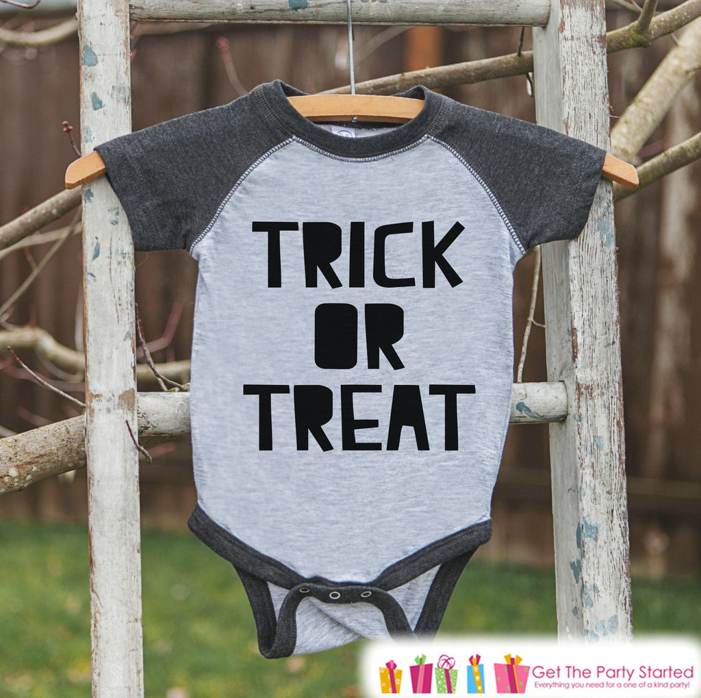 Kids Halloween Shirt - Trick or Treat Shirt - Kids Halloween Grey Raglan Tshirt or Onepiece - Baby's 1st Halloween Costume - Halloween Party