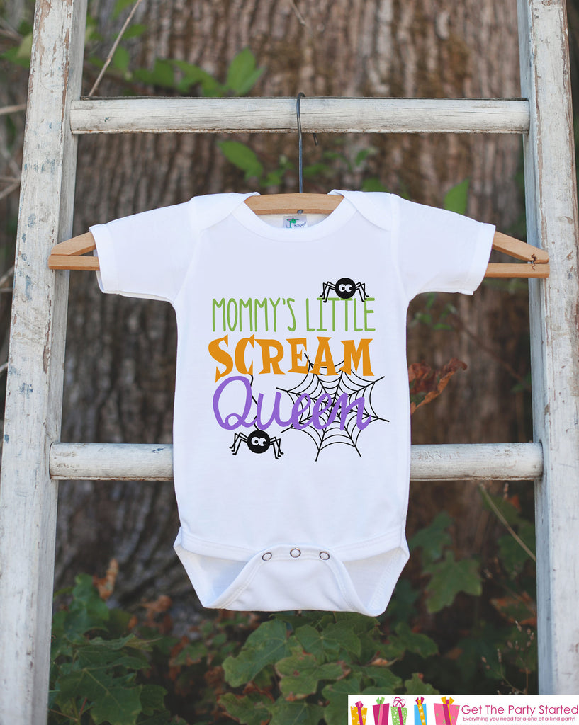Girls Halloween Shirt - Mommy's Scream Queen - Funny Halloween Tshirt or Onepiece - Baby Girl Halloween Outfit - Kids Halloween Costume